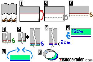 筒状の紙飛行機の作り方を説明した絵